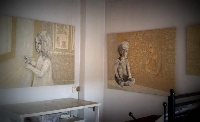 Book Art Collagen: Bilder aus alten Buchseiten, Collagen aus Worten, Typografien, Buchstaben und Wortfetzen. Bilder für Bücherliebende im Atelier Dorothea Koch.