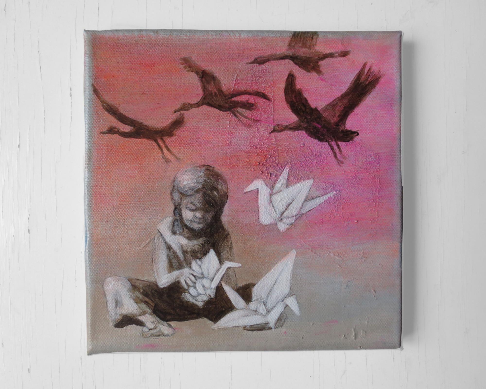 Papier-Kranich-Bild: Ein kleines Mädchen faltet ihre Papierkraniche und lässt sie weit weg fliegen. Die traumhaften Papierflieger verwandeln sich in Vögel und fliegen durch den Himmel. Acrylmalerei auf Leinwand, Kunst von Dorothea Koch.
