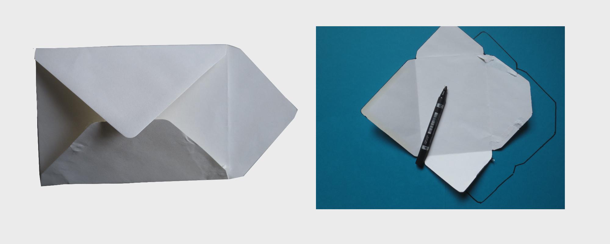 Briefumschlag selber machen: Schablone zeichnen . Book Art Umschlag