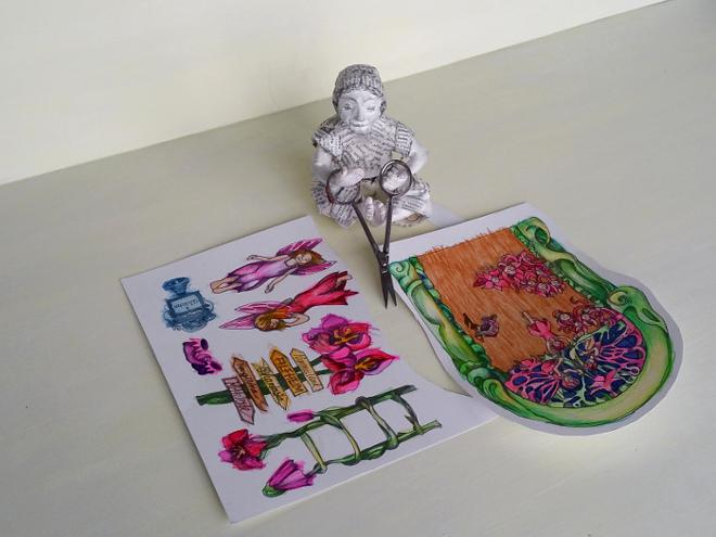 Elfentür basteln: Malvorlage Elfentür. Pdf Druckvorlage Elfen Tür mit: Feentür, Elfen und Blumen zum Ausmalen.