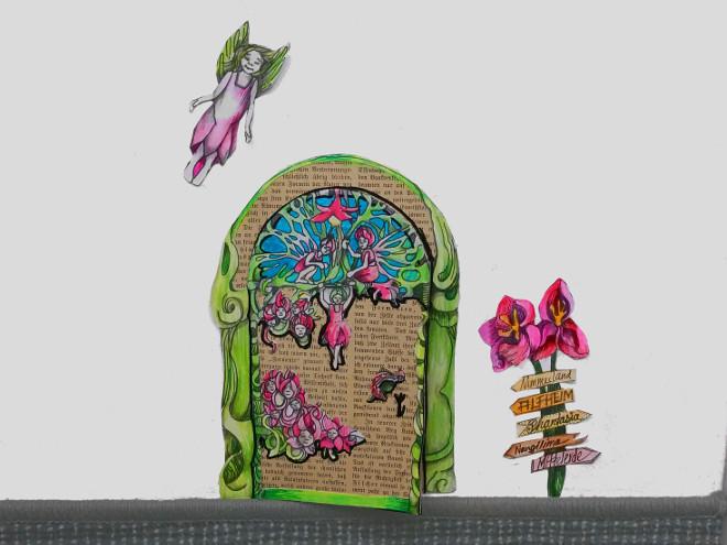 DIY: Elfen-tür selber basteln. Feentür, Mäusetür, Wichteltür aus Papier basteln. Ein Tor zum Reich der Elfen aus Papier, Phantasie und alten Buchseiten.