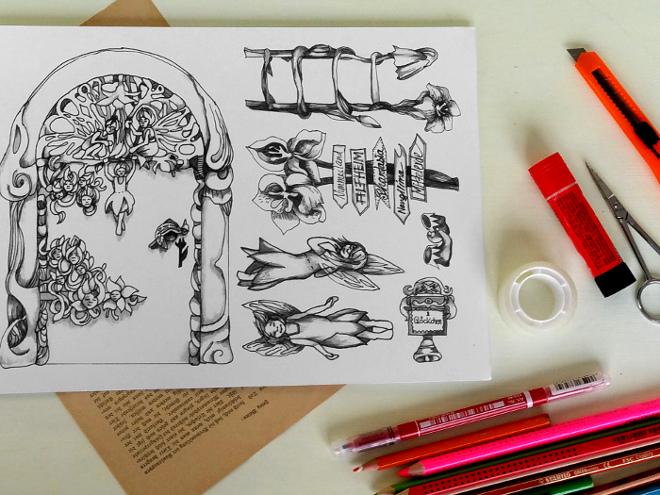 Eine Elfentür selber machen. Bastelanleitung für eine Tür zum Reich der Elfen und Feen aus Papier und Buchseiten.