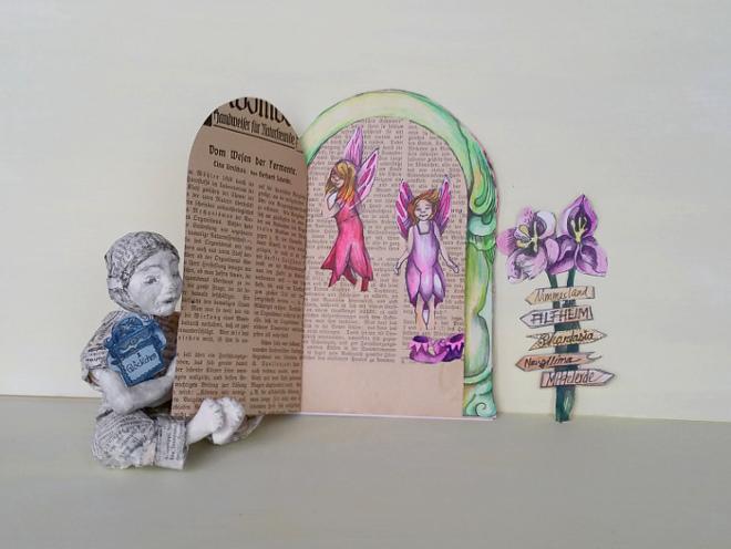 DIY: Feen-tür basteln. Du kannst Deine Elfen Tür mit Elfenschuhen, fliegenden Elfen und Blumen verzieren. Die Elfentür wird an die Wand geklebt und mit Blüten und Feen verschönert.
