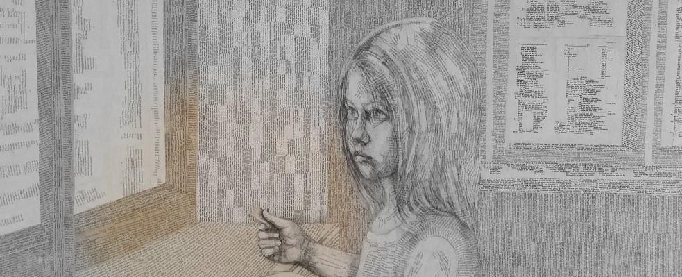 """Book Art, Buch Malerei: Stille, von Dorothea Koch: Ganz am Rand der Bücher ist eine Geschichte, die zu uns spricht. Aber ich antworte nicht, in diesem Buch ist die Stille König."""" (Agnès de Lestrade, Der Bär und das Wörterglitzern. Bildende Kunst ist eine magische Form der Kommunikation und ihre märchenhafte Schönheit liegt in der stillen Kommunikation ohne Worte."""