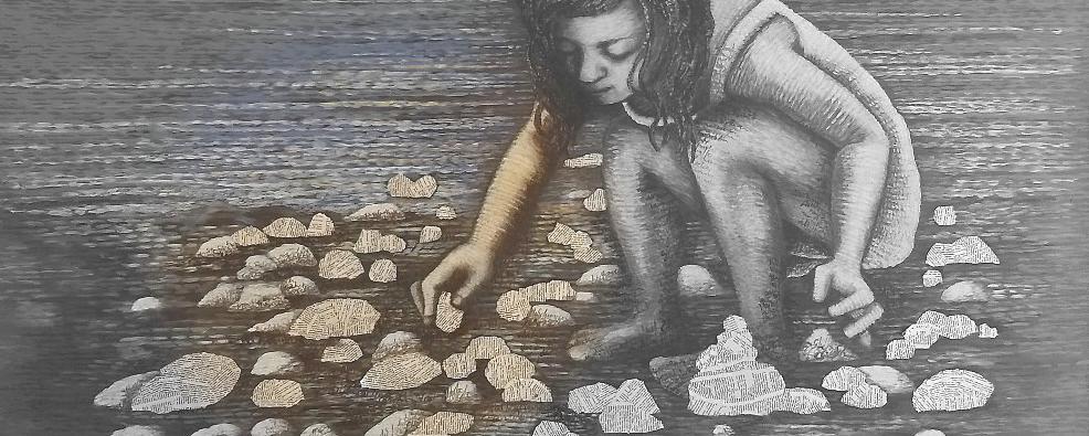 Die Lese Bilder von Dorothea Koch berichten von einer Wort-Schatz-Suche: Bilder zum Thema Lesen, Bücher und Literatur: Eine hingebungsvolle Suche nach Boten-Wörtern, nach Lautmalerei, nach Sinn erfüllten Worten. Die Bilder gleichen einer Schatz Truhe: Eine Wort- Truhe, randvoll gefüllt mit geflügelten Wörtern.