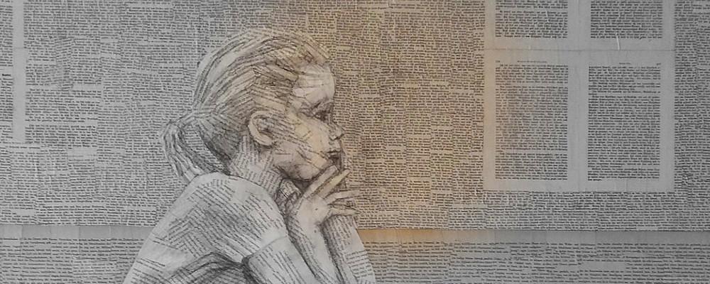 Vortrag zum Thema Lesen: Bücher als Inspiration: Bild von einem Mädchen aus Buchseiten