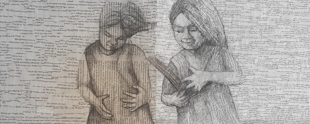 Lesemomente_ Collage aus alten Buchseiten. Was macht ein Buch zu einem Seelen-Buch? Zu einem Buch das tiefe Zeichen, Codierungen und Piktogramme in uns verankert hat?