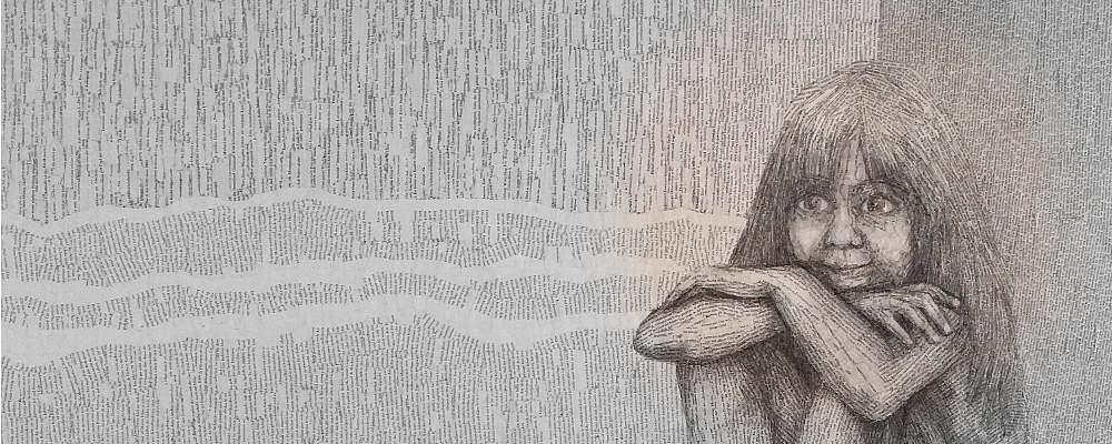Poesie als Rettung: Inspiriert wurde dieses Kunstwerk aus vergilbten Buchseiten von Erich Frieds Gedicht: Wer von einem Gedicht keine Rettung erwartet, der sollte lieber lernen Gedichte zu lesen.