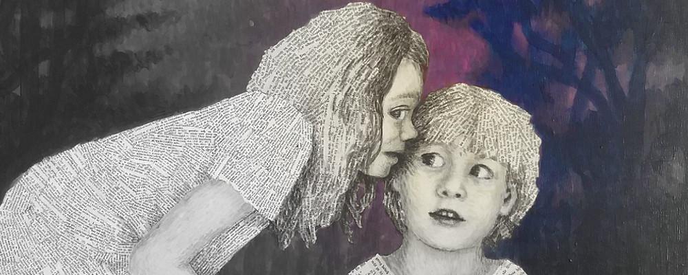 """Ein Kunstwerk für Bücherfreunde: Zwei Leseratten flüstern sich ihre Geheimnisse zu: """" Gäbs zu- das Buch flüstert dir nachts seine Geschichte ins Ohr""""(Cornelia Funke)"""
