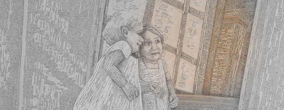 Lesen ist ein Wunder. Schriftzeichen verwandeln sich in Bilder. Book Art von Dorothea Koch, ein Leser Bild, mit einem Mädchen aus Buchseiten, dass in einen Spiegel aus Büchern blickt, das Kind hat vielleicht gerade ein Buch gelesen: Alice im Spiegelland sowie: Durch den Spiegel und was Alice dort fand?