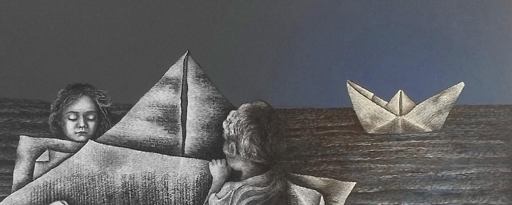 """Zwei kleine Leser am Strand: sie falten eine Botschaft aus einer Buchseite, einen dickeren Brief an Freunde, ein Bild für Bücherliebende mit einer Botschaft mit vielen Seiten: Man kann nicht kommunizieren"""" (Paul Watzlawick)"""