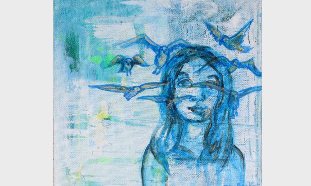 Ein blaues Bild mit einem Mädchen. Ihre Gedanken und Träume fliegen und flattern als Vögel durch, in und aus ihrem Kopf, durch ihre Seele.