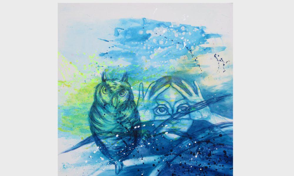 Mädchen und Eule: Ein Mädchen und eine Eule schauen mit großen Augen in den Nachthimmel. Ein träumerisches Motiv für weise Eulen und Nachtvögel, gestaltet in Blau und Türkistönen.