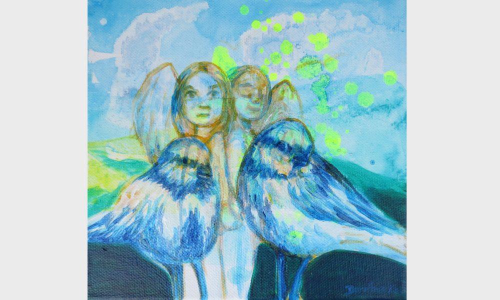 Zwilling-Seelen-Seelen-gefährten. Zwei Mädchen mit ihren Seelengefährten, Seelen Vögel. Spiegelseelen. Malerei in verschiedenen blau Tönen mit leuchtenden, expressiven Neon Farben.