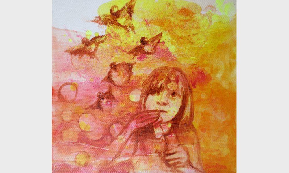 Bild in leuchtenden Gelb, orange und roten Farbtönen : Ein Kind pustet Seifenblasen, die Luftblasen fliegen durch die Luft und verwandeln sich in Vögel. Ein Bild über den Flug der Gedanken und Träume.