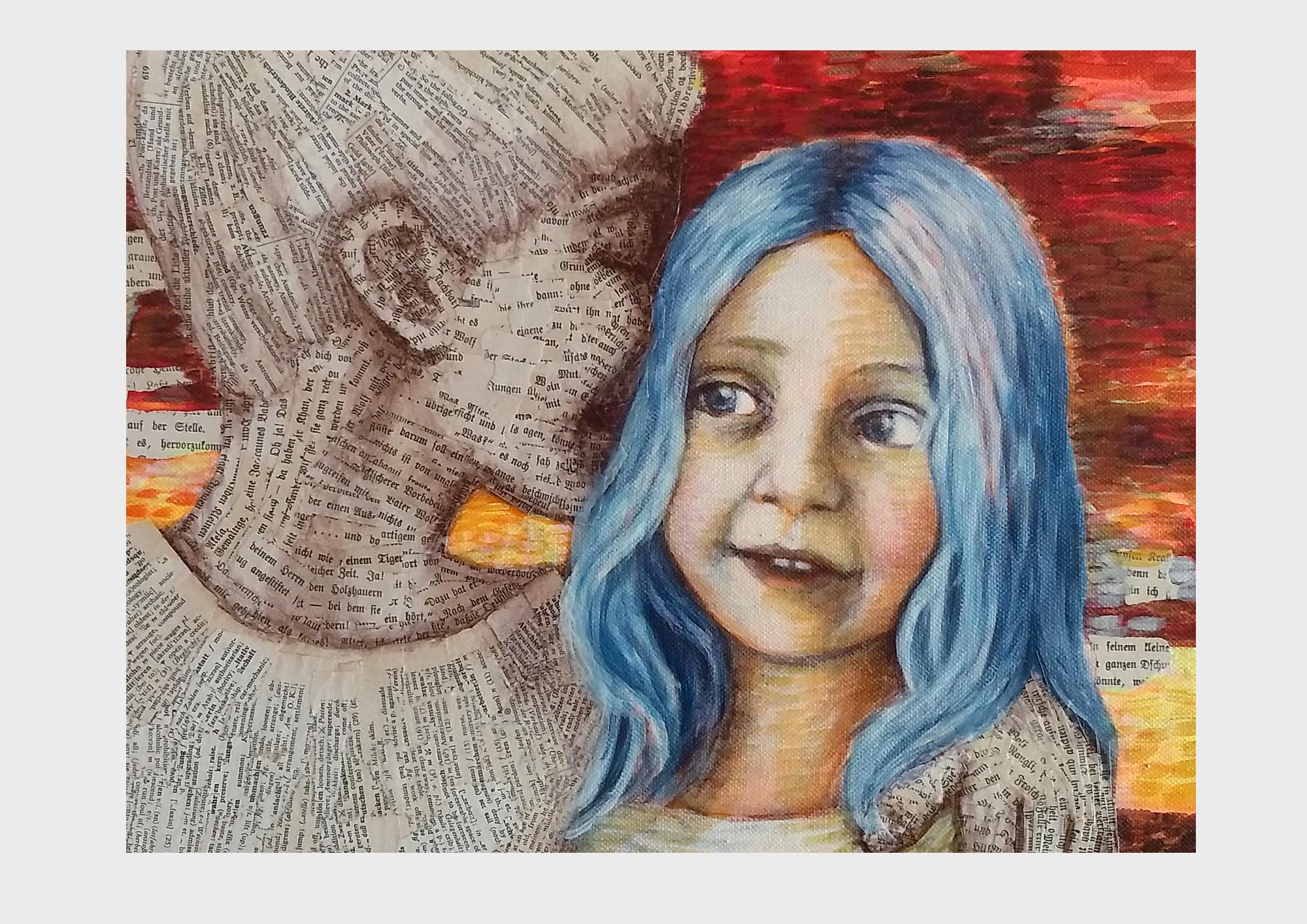 Detailansicht: Ein Bild über Bücher und Worte: Collage aus alten Buchseiten mit Satzzeichen und Farbpunkten im Pointilismus Stil. Zwei Kinder im orange-roten Herbstwald, der Junge ist das Buch und flüstert dem Mädchen mit den blauen Haaren die Geschichte ins Ohr.