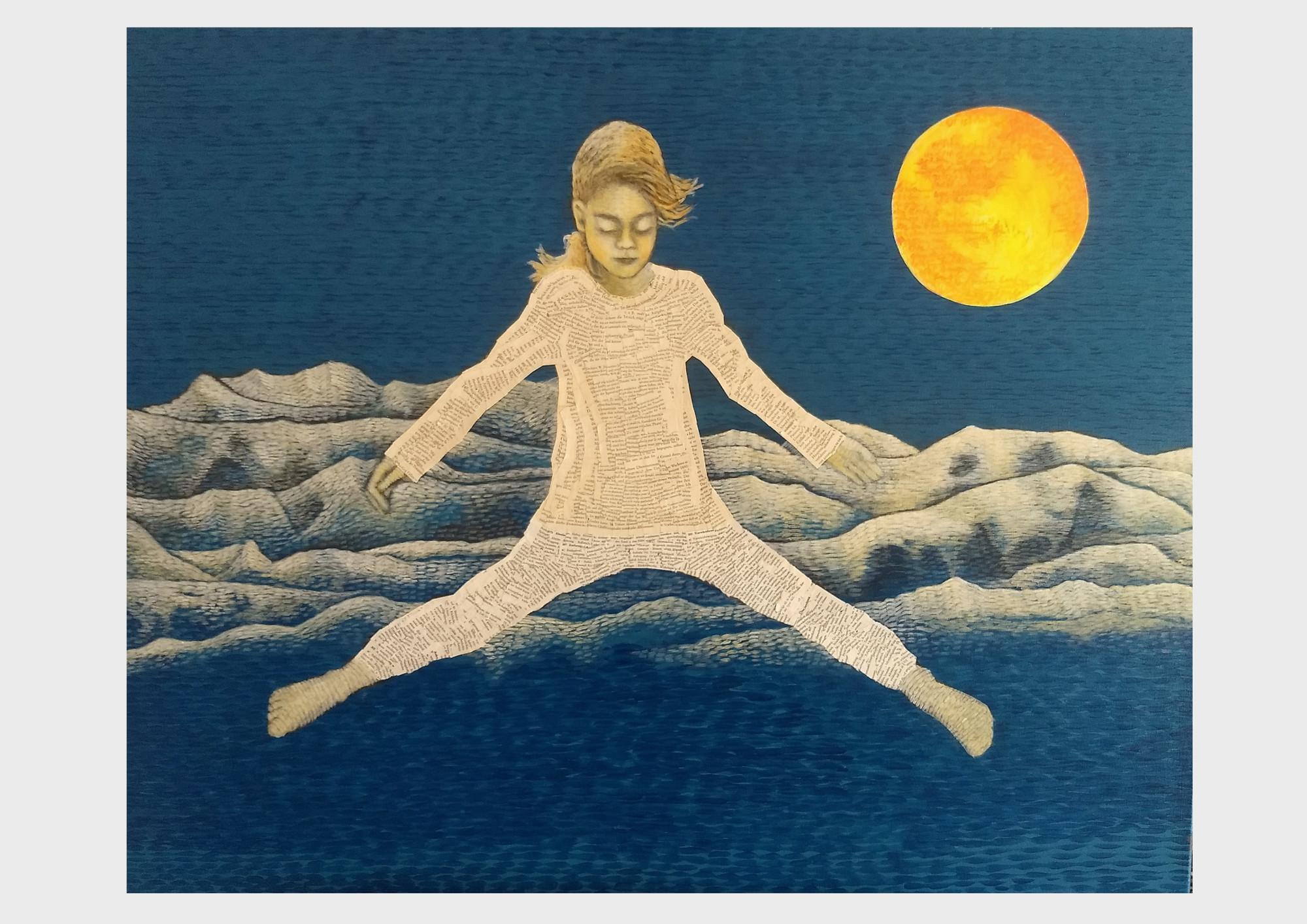 Kunst aus alten Büchern. Blaues Acrylbild mit Collage Elementen aus alten, zerliebten Büchern. Ein Mädchen gleitet über dem Gebirge durch den blauen Himmel und träumt von einem Buch: Peter Pan.