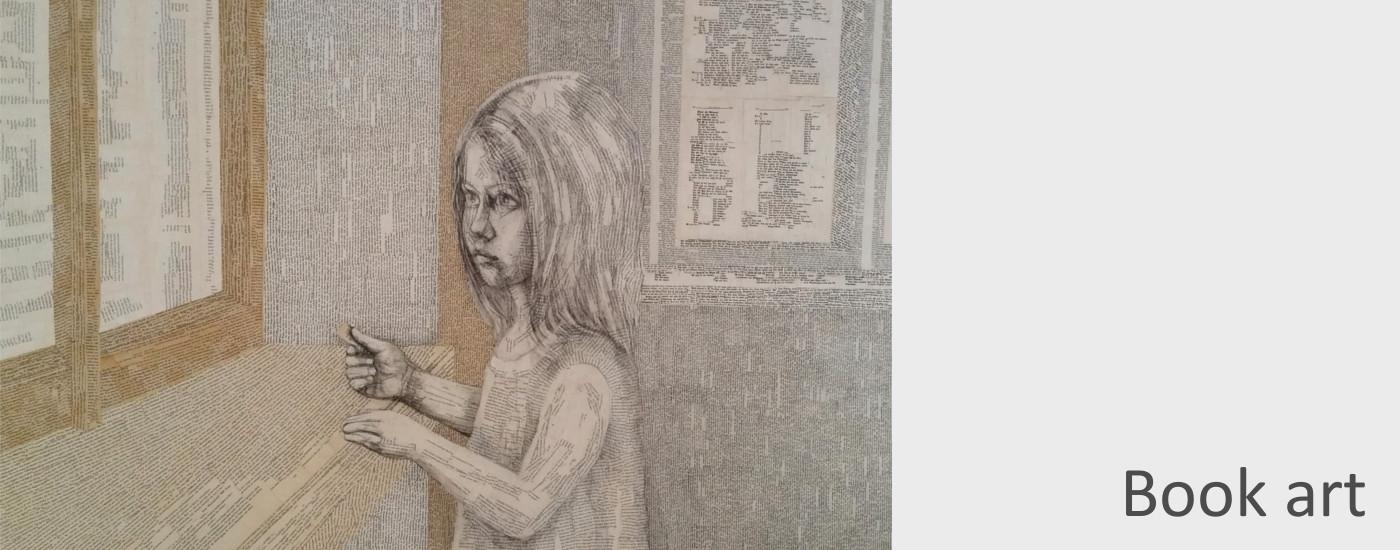 Kunst für Bücherliebende Kunstfreunde und Kunstbegeisterte Leseratten: Aus alten, zerliebten Büchern entstehen neue Geschichten und Bilder: Collagen aus Buchsseiten, die die Wörter eine neue Geschichte erzählen lassen.