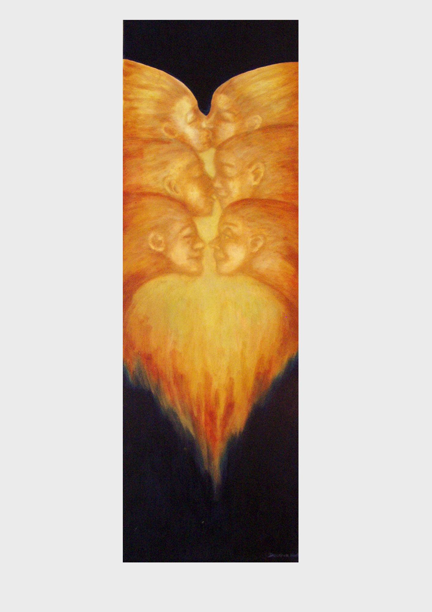 Brennendes Herz, zwei Liebende. Malerei von Dorothea Koch. Ein Liebespaar verschmilzt im Feuer, i Kuss, in der Liebe. Acryl Malerei, in warmen Farben, vor dunklem Hintergrund.