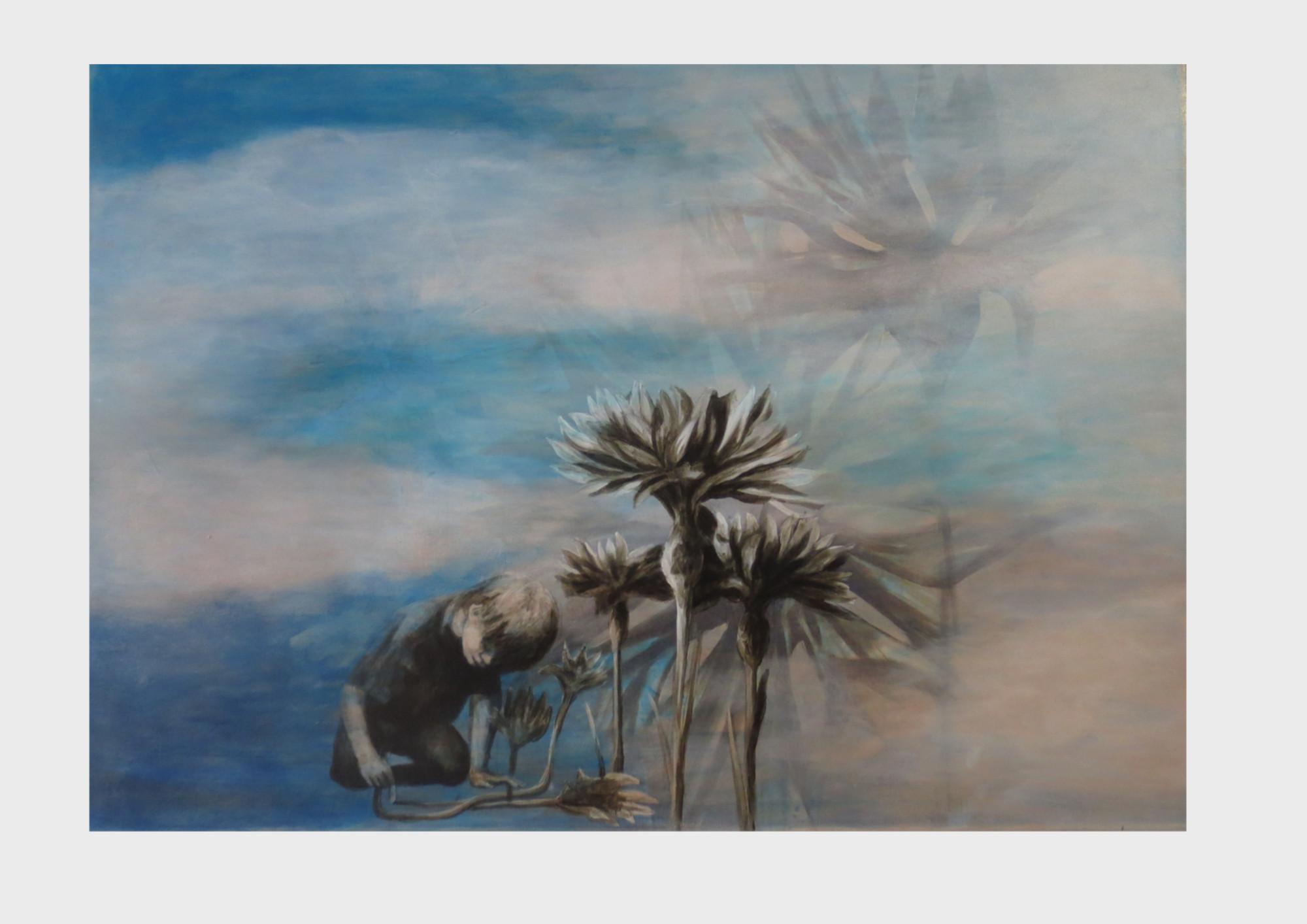 Kornblumen-blauer Kornblumen-maler: Ein kleiner Junge malt mit Kreide auf den Boden, er versinkt so in seiner Kunst, dass die Kornblumen zu echten Pflanzen erwachsen. Acrylbild in blauen Farbtönen.
