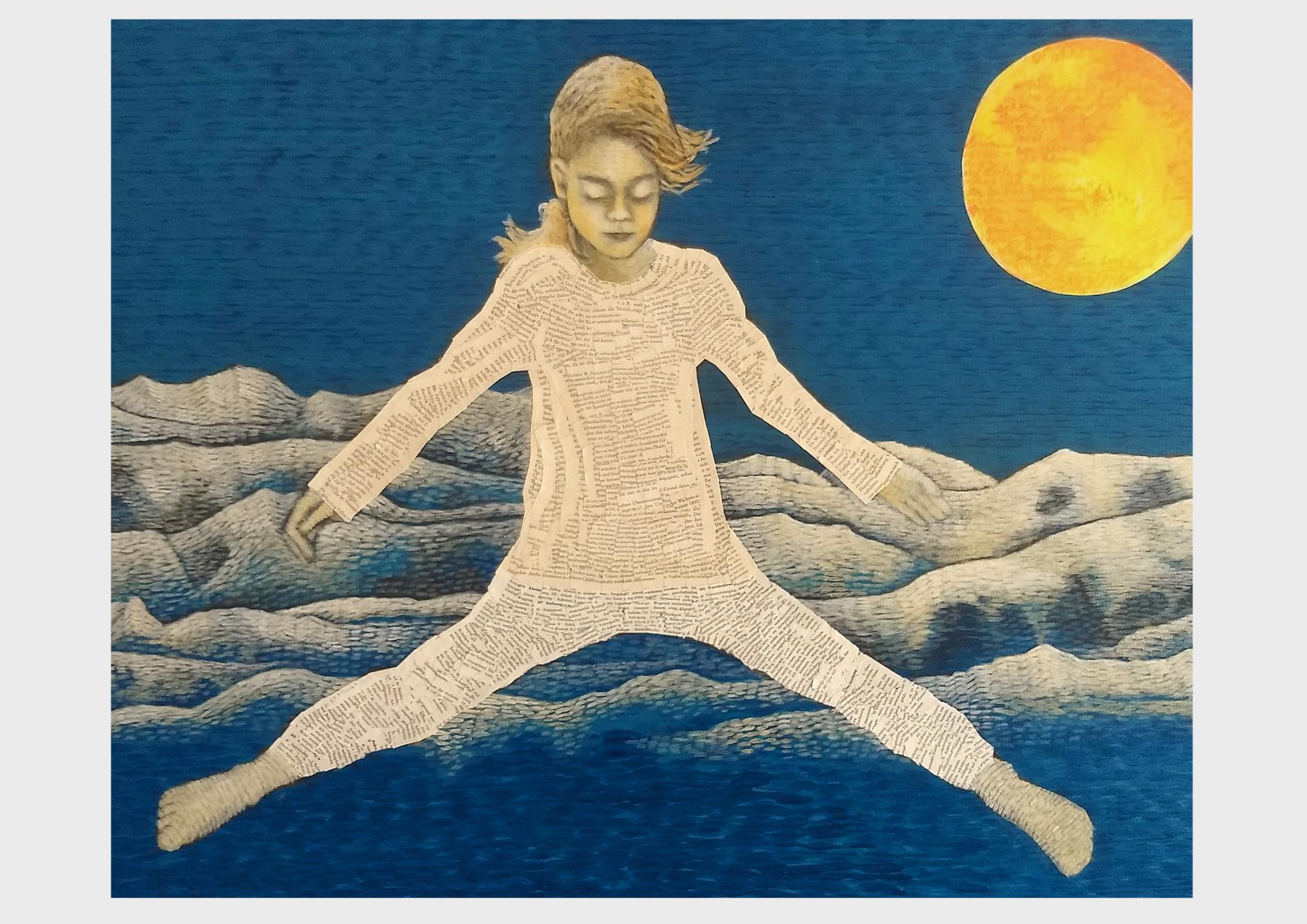 Traum_sprung. Ein Mädchen springt ins Blaue. In ihren Träumen aus Worten und Papier kann sie weit über alle blauen Berge und türkisenen Horizonte aus Buchseiten fliegen. Collage aus Buchseiten mit Farb Pointilismus.