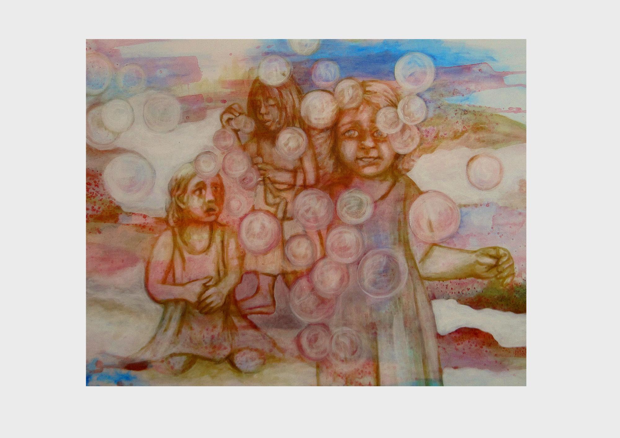 Kinder mit Seifenblasen. Die Gedanken der Mädchen werden zu leichten Seifenblasen, die durch den Wolkenhimmel fliegen.