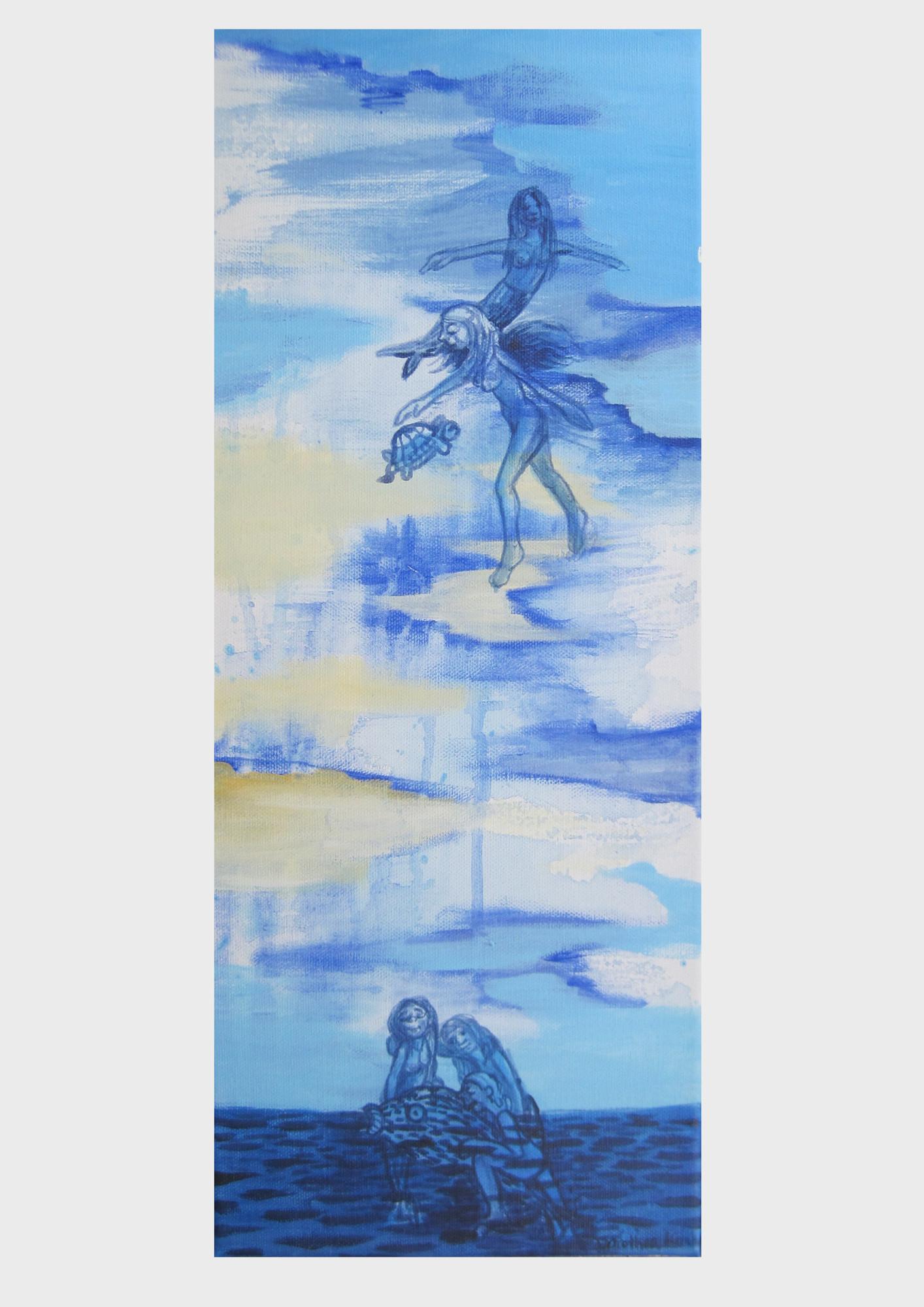 Malerei von Dorothea Koch: Ein phantasievolles Bild mit fliegenden Meerjungfrauen am blauen Wolkenhimmel, über dem Meer. Maritime Malerei voller Märchen und Geschichten.