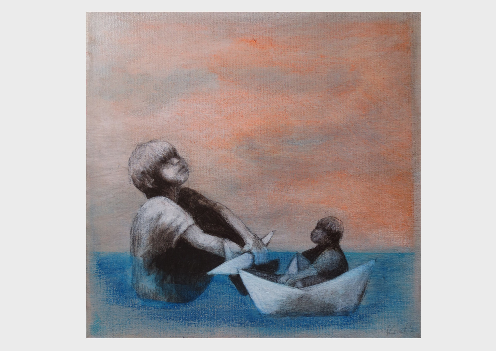 Quadratisches Acrylbild: Zwei Buben im Meer, treibend in ihren Schiffen aus Papier. Ein maritimes und verträumtes Motiv der Nürnberger Künstlerin Dorothea Koch. Türkisblaues Meer und orangener Wolken Himmel.