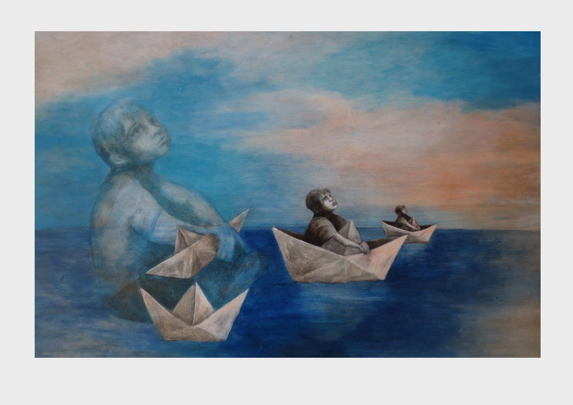 Junge im Papierschiff. Malerei von Dorothea Koch. Maritimes, phantasievolles Gemälde mit zwei kleinen Kindern die mit ihren Papierschiffen durch das Meer der Phantasie treiben. Nachtblaues Meer, Cyanblauer Wolken Himmel.
