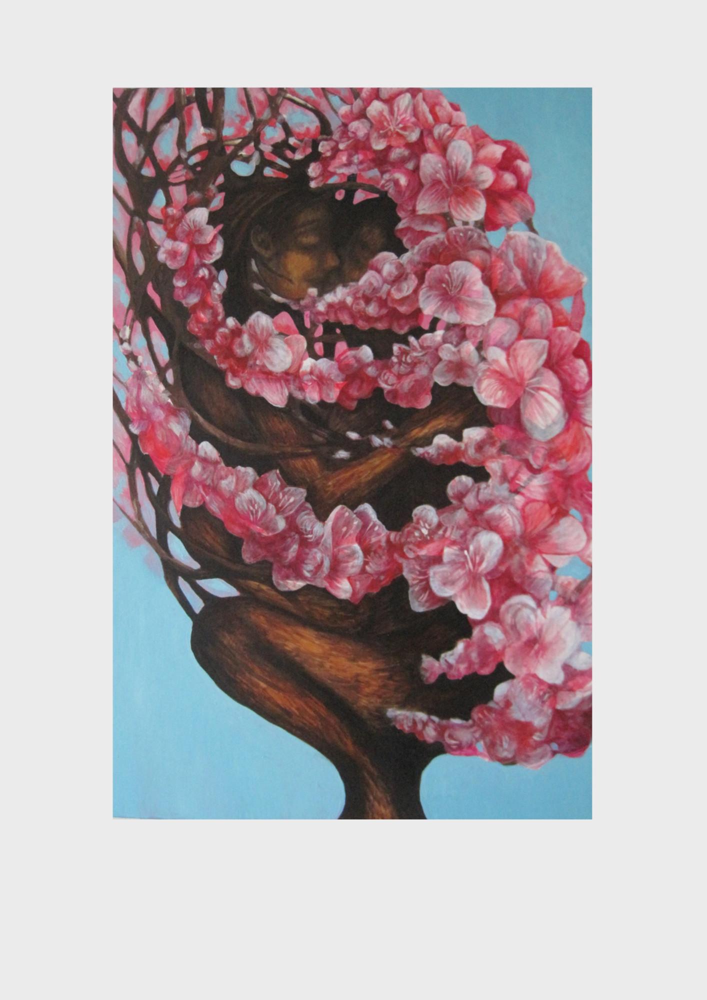 Liebende. Gemälde von Dorothea Koch. Im Stamm des Baumes versteckt sich ein Paar. In Anlehnung an Philemon und Baucis von Ovid. Ein Ehepaar, das sich so sehr liebte , dass sie die Götter baten als Baum zusammenwachsen zu dürfen-um so für immer untrennbar zu sein.