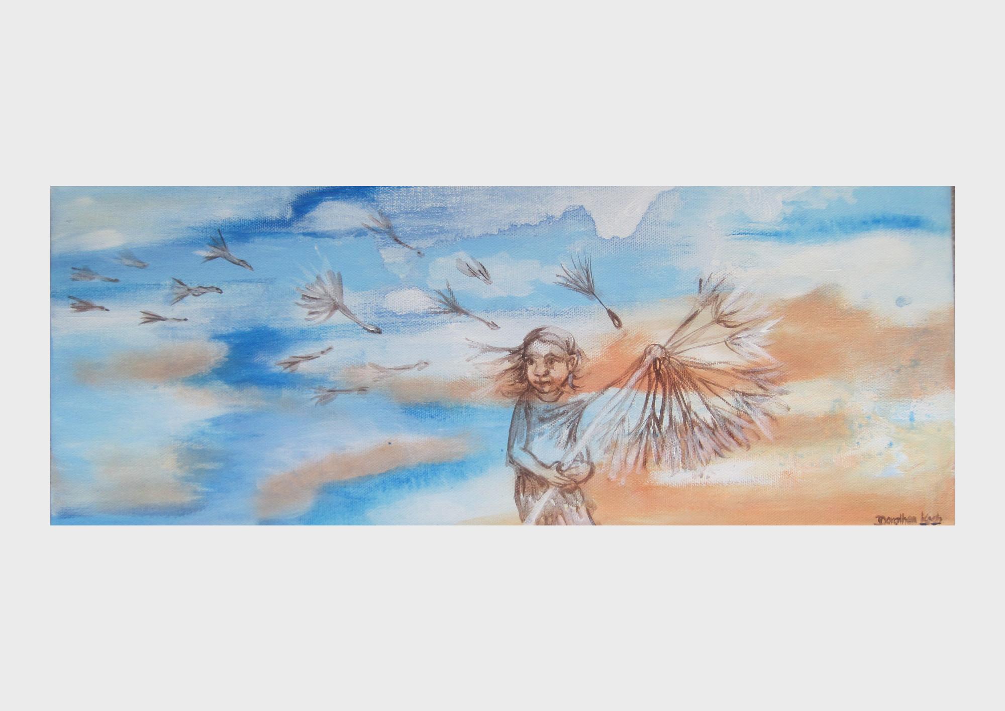 Ein verträumtes Motiv mit Acrylfarben auf Leinwand gemalt. Vor einem Wolkenhimmel, in blau und orange Tönen mit kräftigen Pinselstrichen, ist ein kleines Mädchen mit Puste Blume lasierend und transparent gemalt.