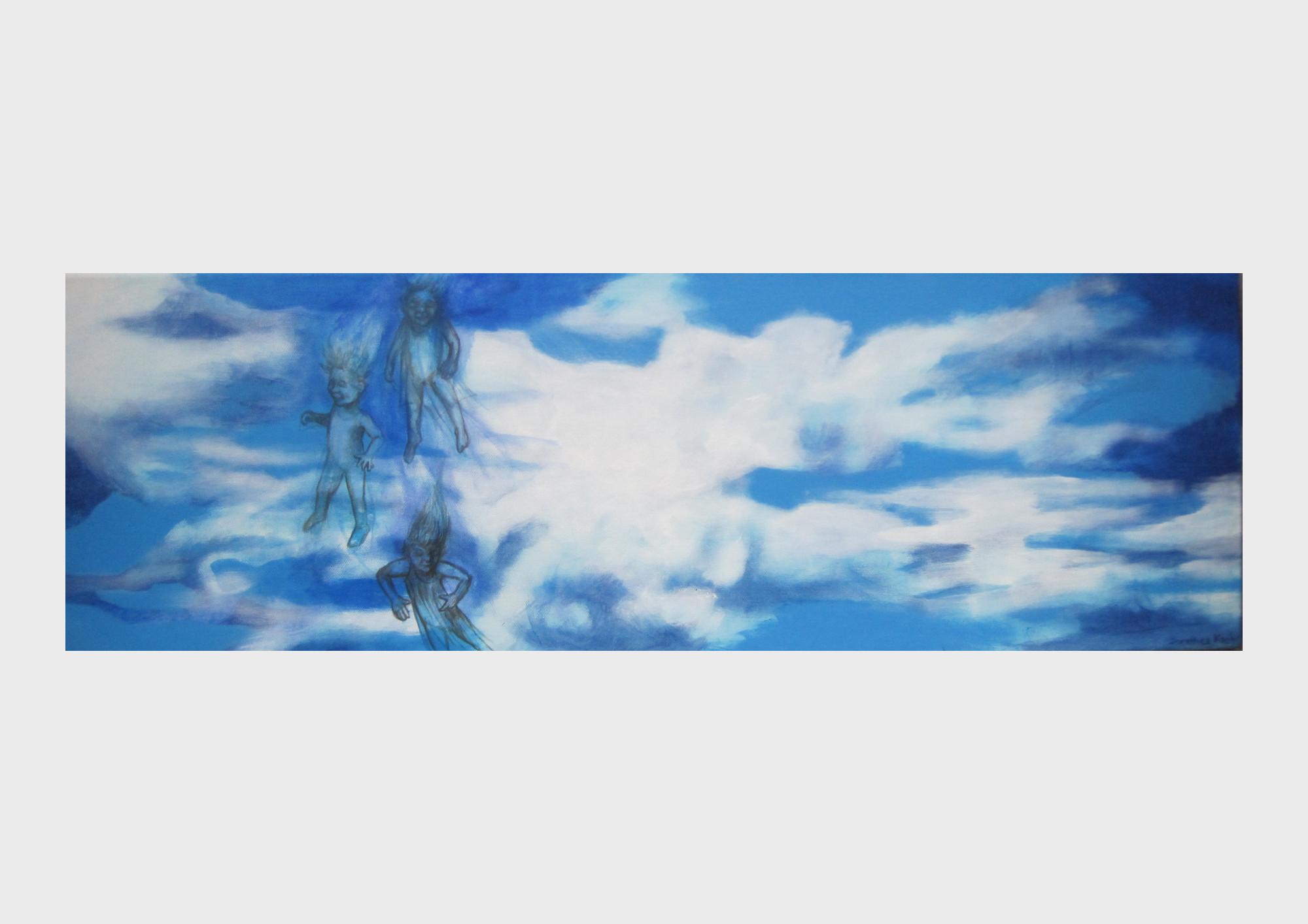 Gemalter Wolkenhimmel mit himmlischen Flugwesen in Himmelblau. Acrylbild der Nürnberger Künstlerin Dorothea Koch.
