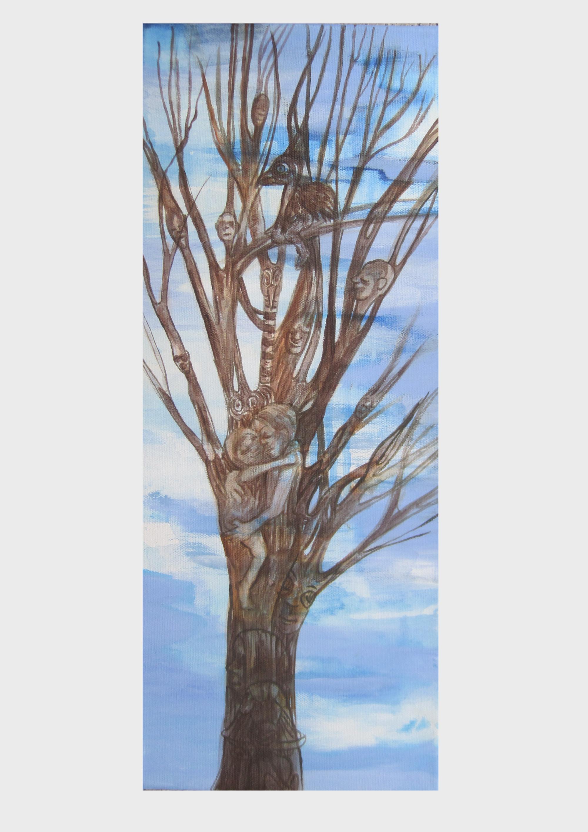 Baumfamilie: Ein Baum im Wolkenhimmel, Malerei von Dorothea Koch. Liebend wachsen alle zu einem Baum zusammen, die Baumfamilie, der Stammbaum, alle verschmelzen in diesem Bild vor dem himmelblauen Wolkenhimmel