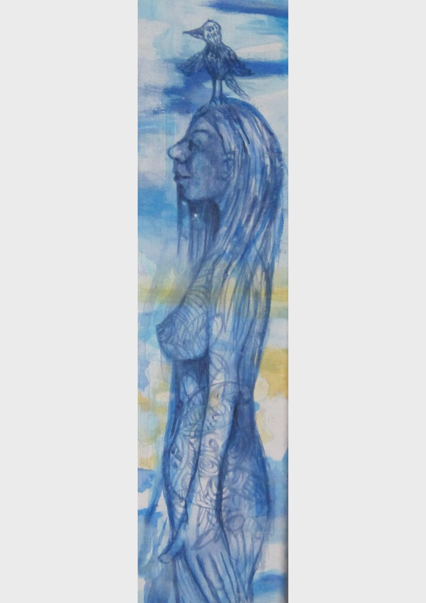 Den Kopf in den Wolken. Sie hat einen Vogel. Eine traumhaft verträumte Frauen Figur gleitet durch den blauen Wolkenhimmel aus Acrylfarbe. Sie schwebt durch das Reich der Phantasie. Ein blaues Bild der Nürnberger Künstlerin Dorothea Koch.