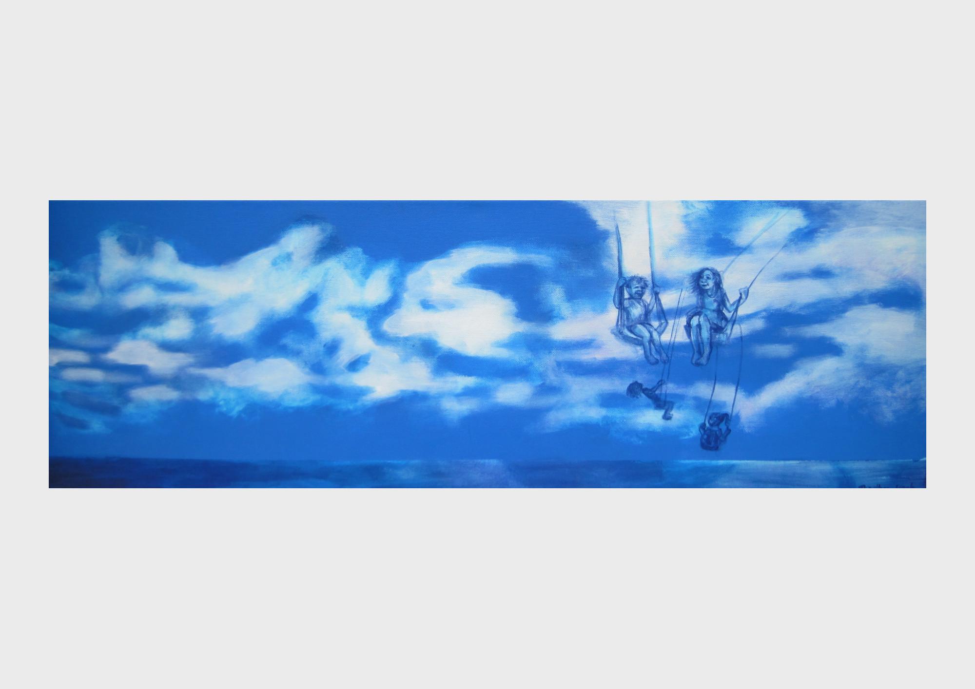 Wolken Malerei: Schaukelnde und wippende Kinder: Malerei von Dorothea Koch.
