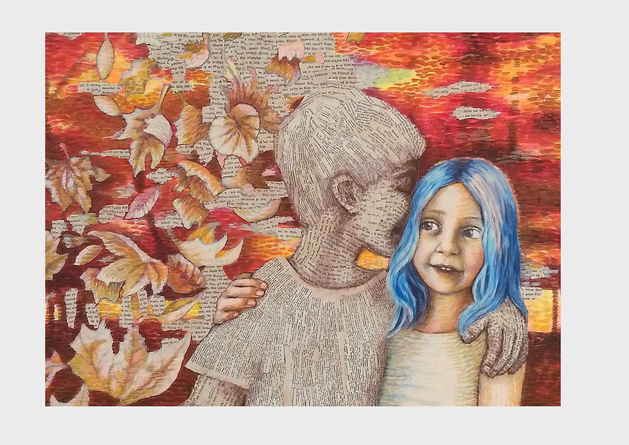 Ein Bild über Bücher und Worte: Collage aus Buchseiten mit Satzzeichen und Farbpunkten im Pointilismus Stil. Zwei Kinder im orange-roten Herbstwald, der Junge ist das Buch und flüstert dem Mädchen die Geschichte ins Ohr.