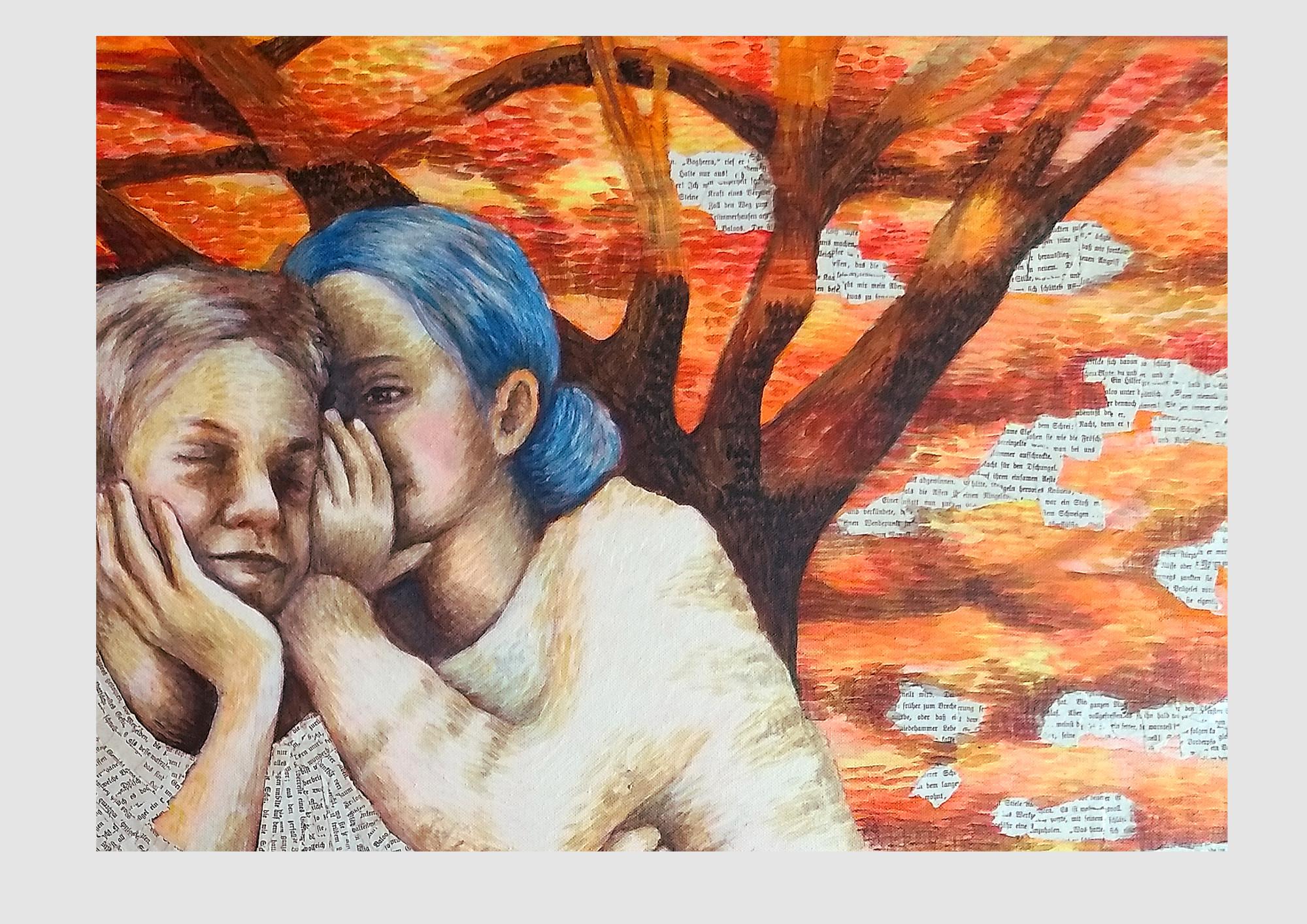 Malerei für Bücherfreunde und lese-liebhaber: Upcycling Kunst aus alten, zerliebten Buchseiten, zwei flüsternde Kinder im Herbstwald. Warme Farbtöne in Acrylfarbe mit Collage aus Buchseiten.