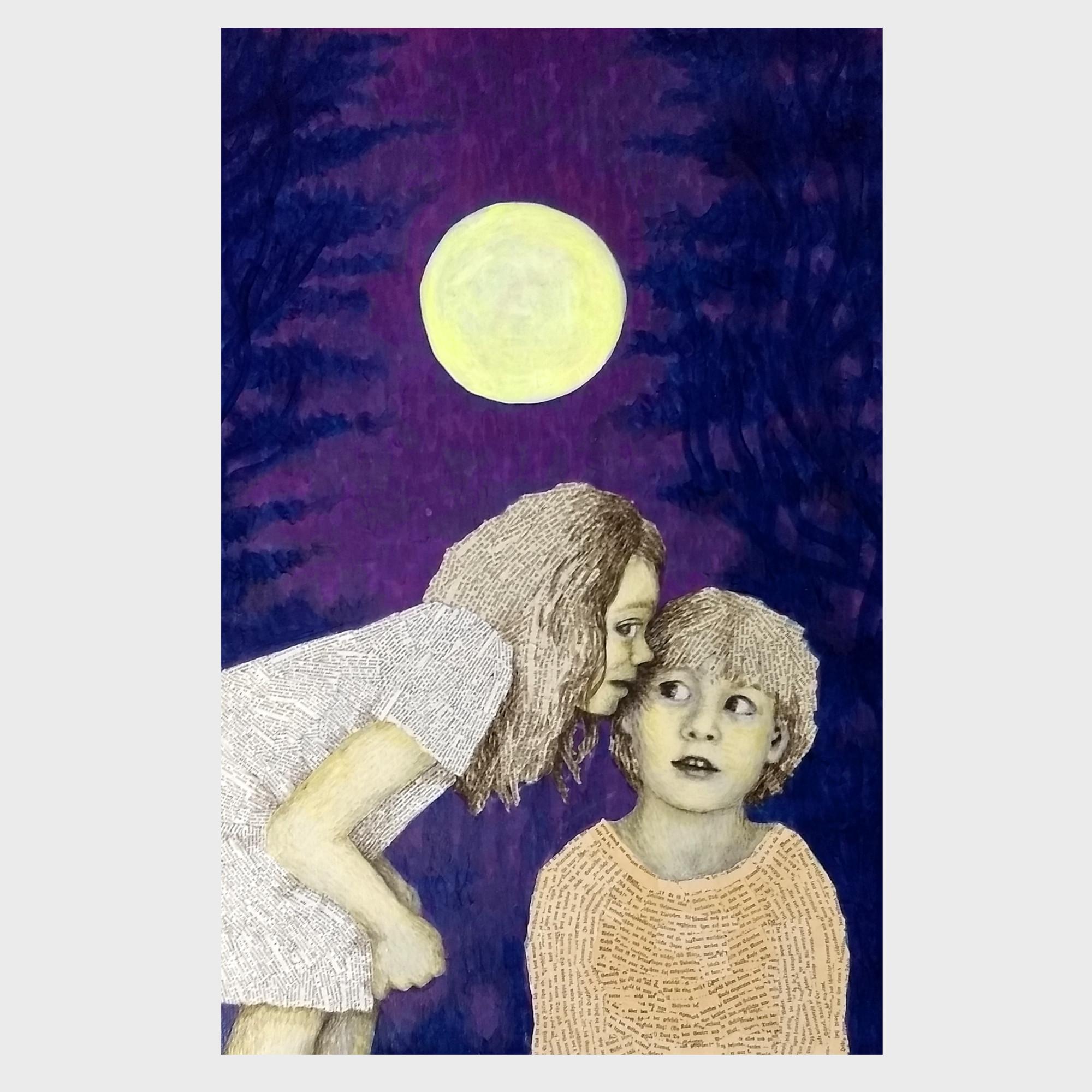 Mondnacht: Malerei und Collage aus alten Buchseiten