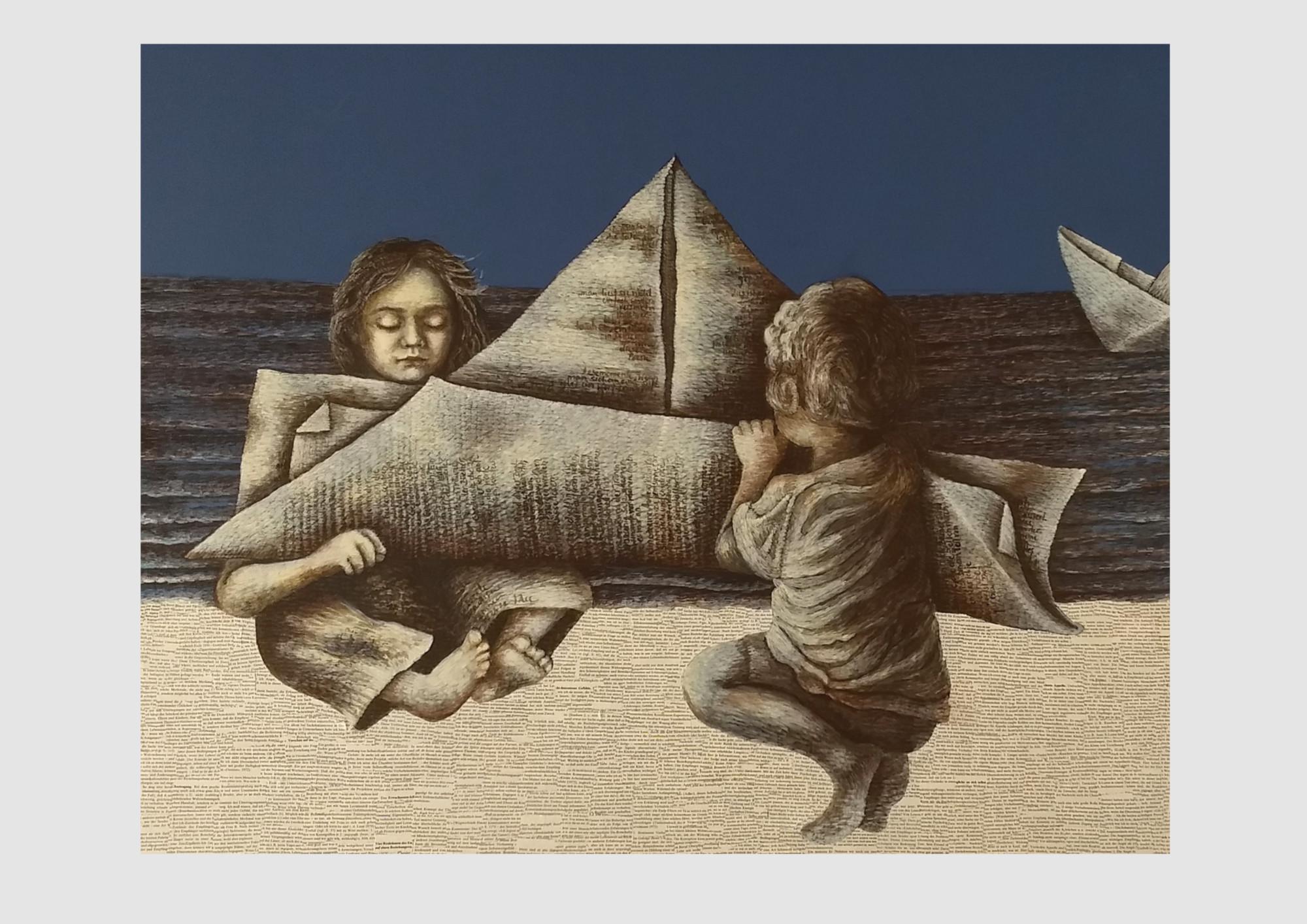 """""""Ein Buch muss die Axt sein für das gefrorene Meer in uns."""" (Franz Kafka) Malerei mit Collage aus Buchseiten."""