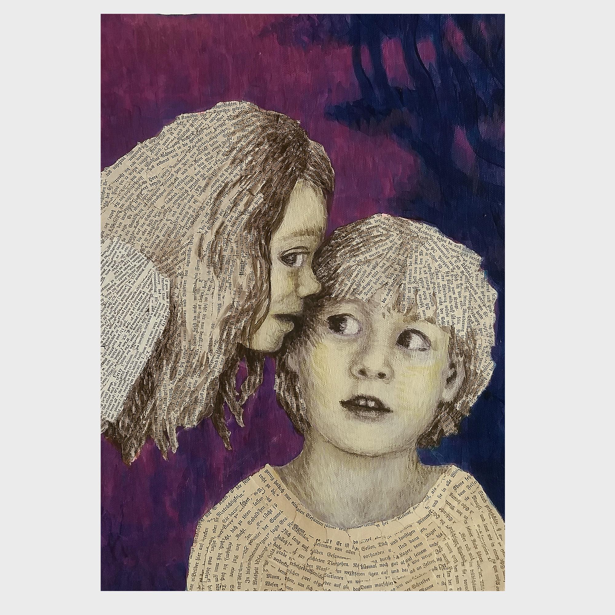 Abendlied: Collage aus Büchern, Upcycling Kunst von Dorothea Koch.