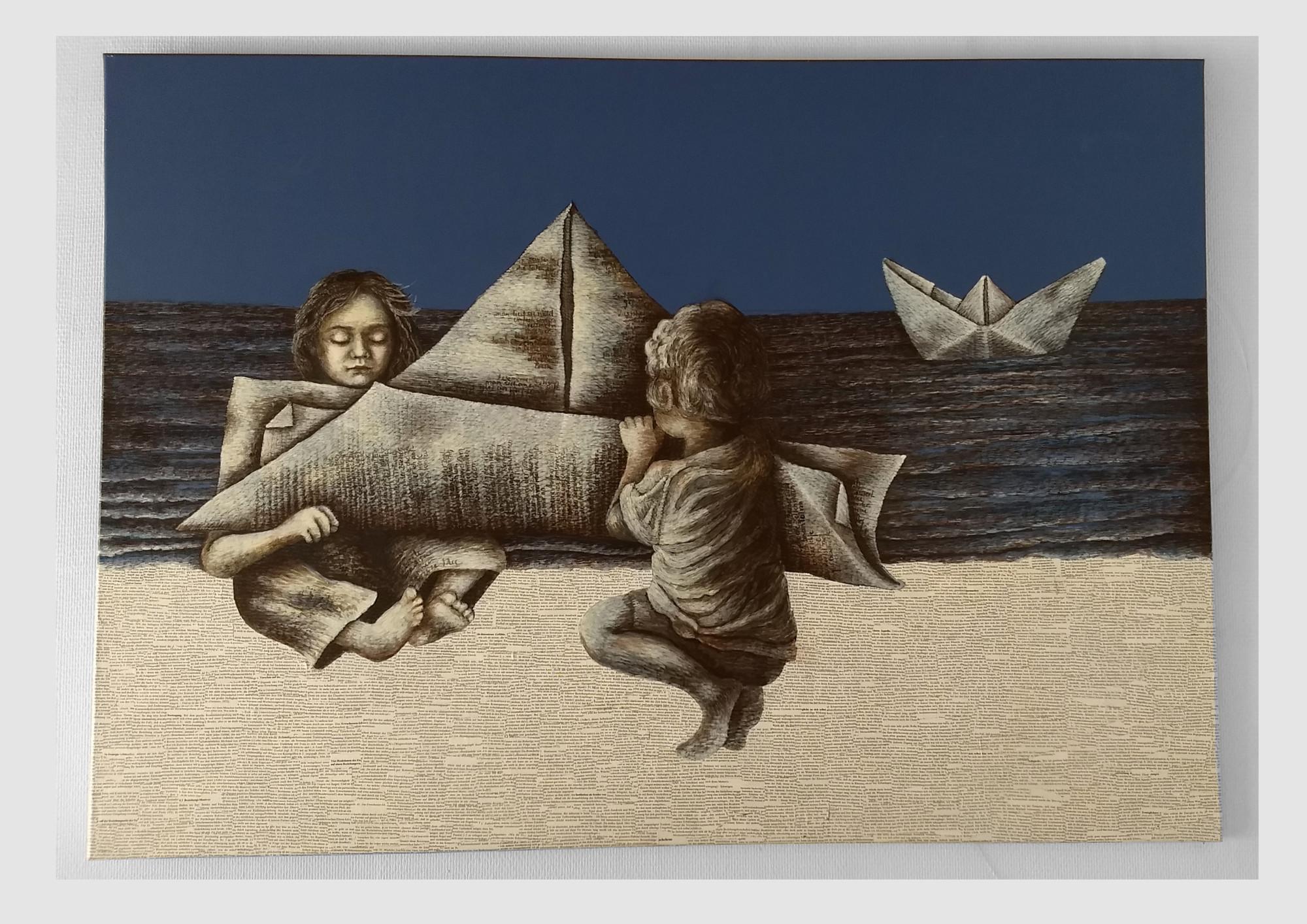 Malerei für bibliophile Bücherfans: Papierschiff, zwei Kinder falten ein Boot aus Worten.