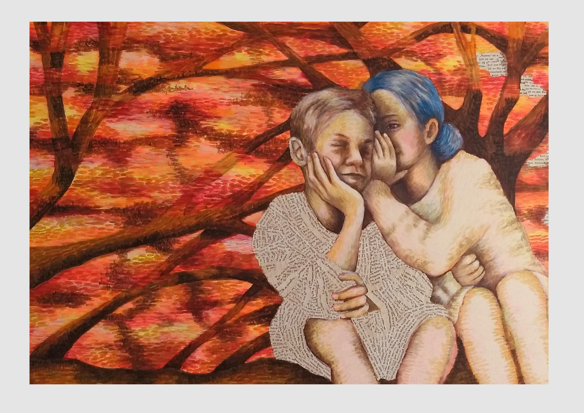 Acyrl-bild Herbstwald: Auf Leinwand gemalt, in orange, Rot und warmen Farbtönen. Zwei Kinder sitzen auf einem Baum und flüstern sich etwas ins Ohr. Das Mädchen hat blaue Haare, blau wie Tinte.