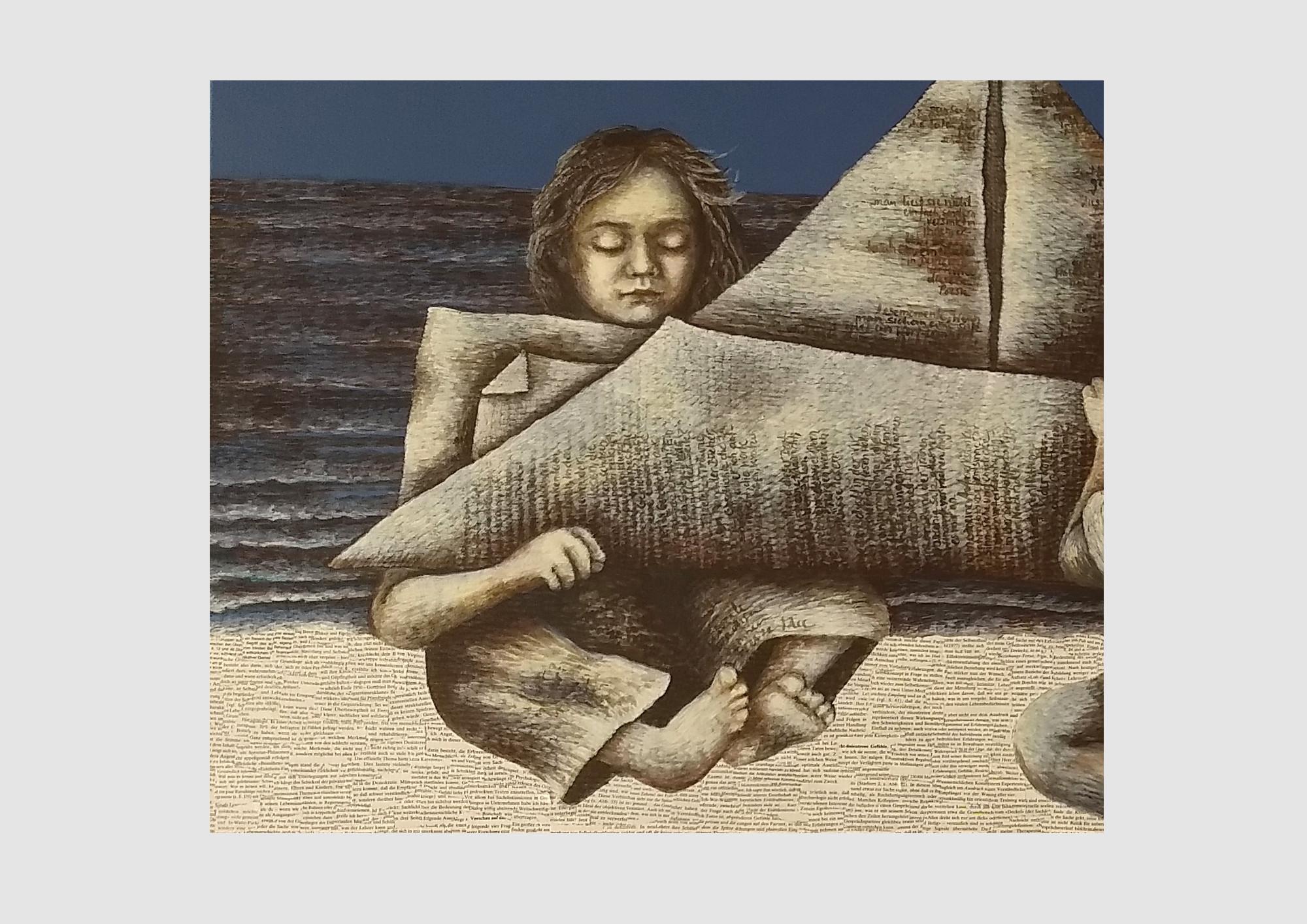 Bild mit lesenden Kinder: Die beiden kleinen Bücherwürmer haben eine Botschaft aus Büchern gefaltet und schicken die Geschichte über das Meer aus alten Buchseiten. Die alten Bücher erzählen so eine neue Geschichte.