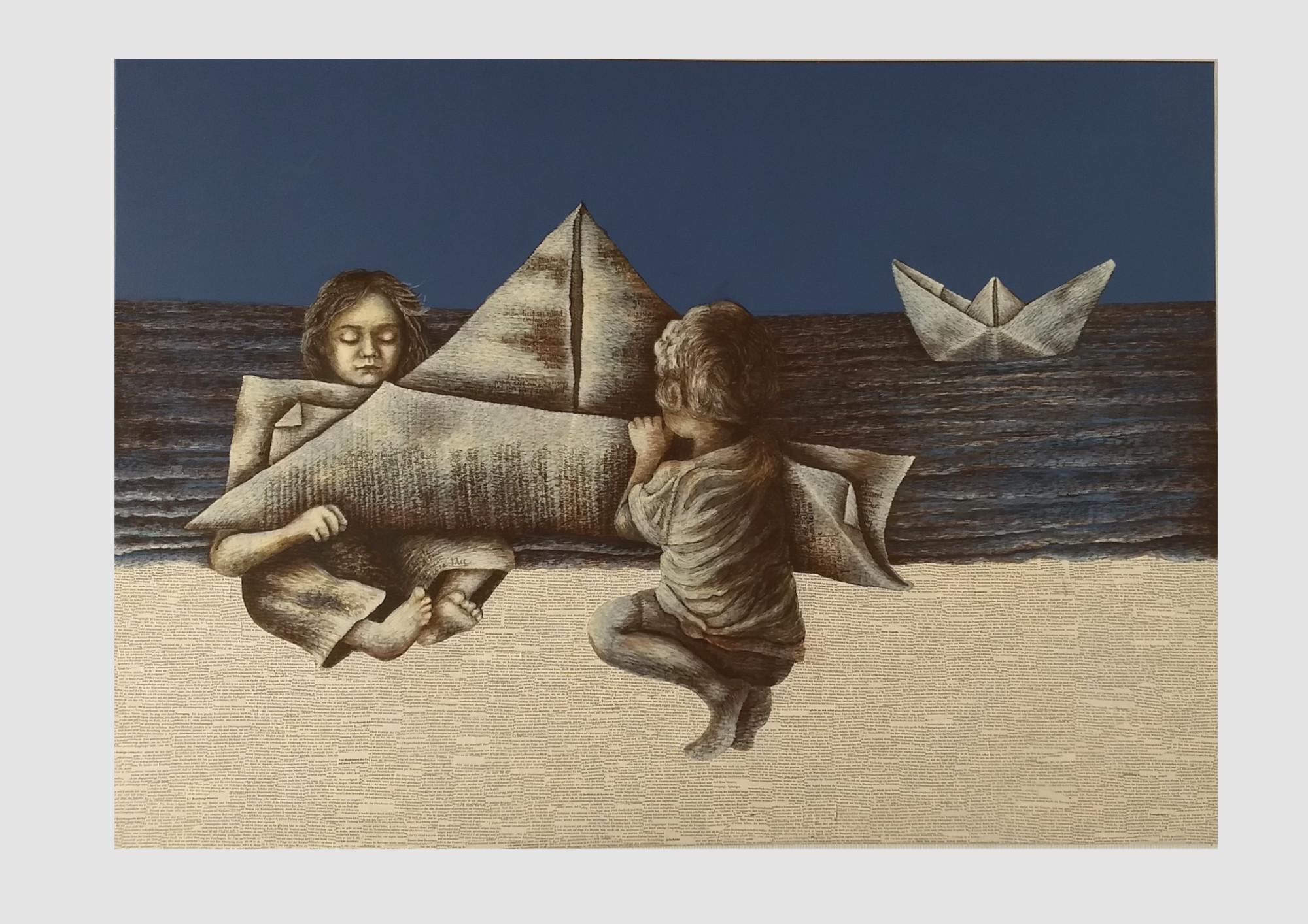 Bücher sind Schiffe, welche die weiten Meere der Zeit durcheilen. (Verulam Bacon) Zwei Bücherfreunde lesen ein Buch über Seefahrt. Book art Collage und Malerei.
