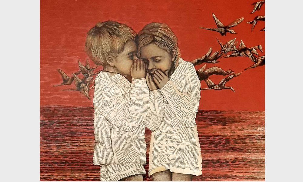 Zwei Seelengefährten am Meer der Wörter, am Strand der Buchseiten. Die beiden bibliophilen Kinder scheinen einer Geschichte zu lauschen, die ihre Seele empor wachsen lässt.