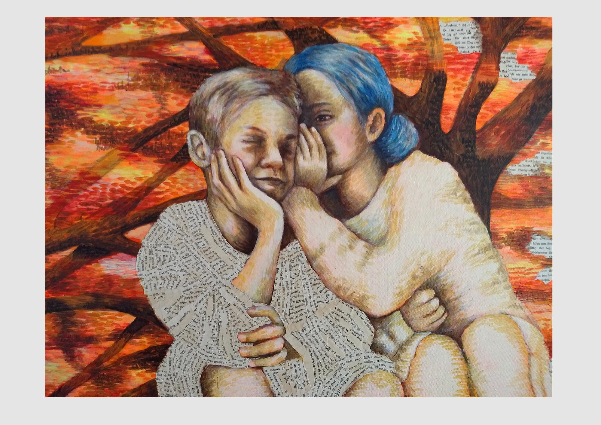 Ein Junge und ein Mädchen flüstern miteinander. Das Mädchen hat blaue Haare, blau wie Tinte, der Junge trägt Kleidung aus alten Buchseiten, dem Dschungelbuch. Der Herbst Wald erzählt eine Geschichte über Literatur, Poesie, Worte und Bücher.