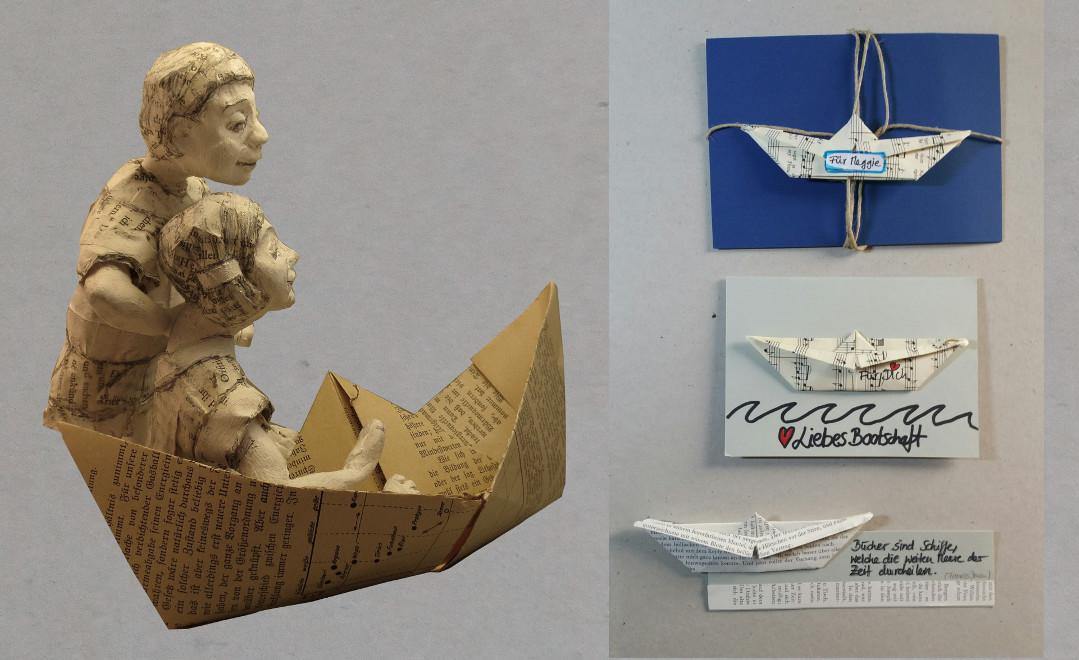 Bastelideen und Anleitungen mit Papierschiffen: papier schiff Mobile, Papierschiff Lesezeichen