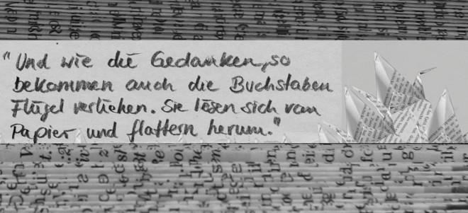 """Malfuria von Christoph Marzi: """" Und wie die Gedanken, so bekommen auch die Buchstaben Flügel verliehen. So lösen sich vom Papier und flattern herum"""". (Christoph Marzi)"""