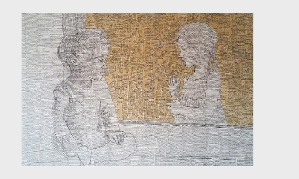 """""""Man sollte alle Tage wenigstens ein kleines Lied hören, ein gutes Gedicht lesen, ein treffliches Gemälde sehen und, wenn es möglich zu machen wäre, einige vernünftige Worte sprechen."""" (Johann Wolfgang von Goethe) Zwei Kinder fangen Gedichte und Worte ein, Collage aus alten Buchseiten."""