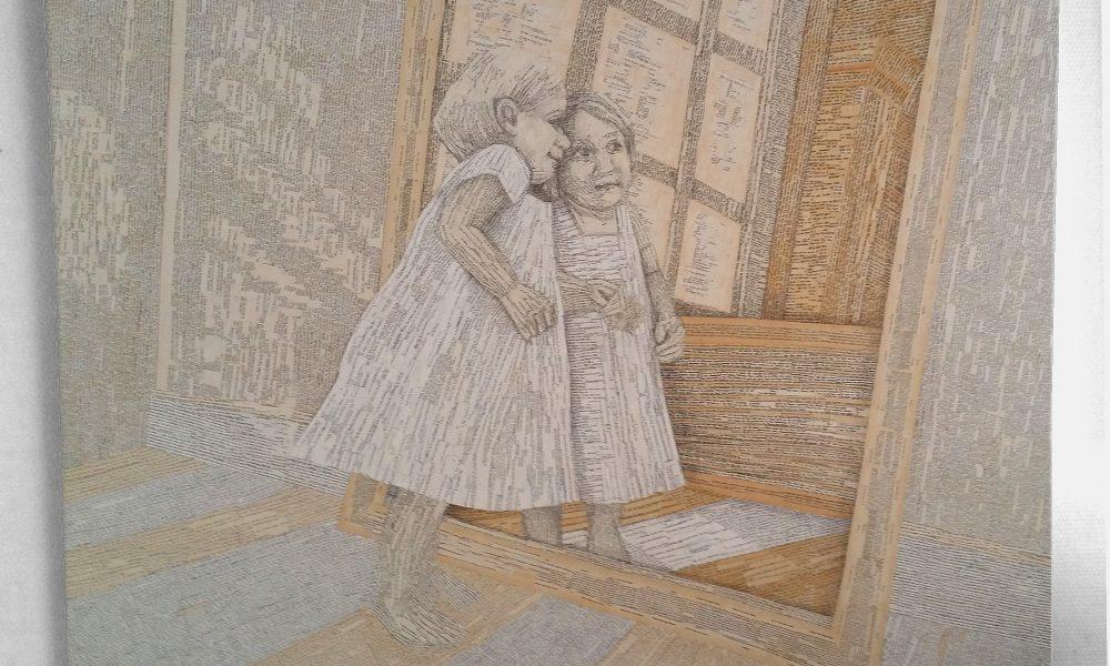 Ein Mädchen liest in einem Buch und blickt dabei in einen Spiegel. Der Blick in den Spiegle ist der Blick in ein Buch, Collage aus Buchseiten, ein Bild aus Büchern über Bücher.